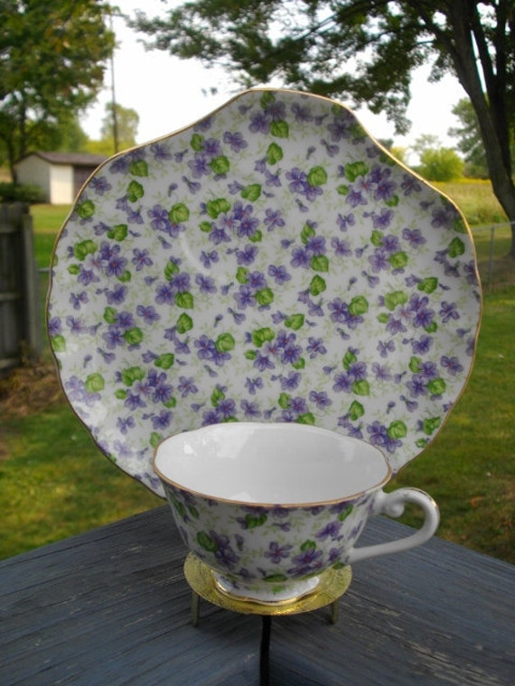 Lefton China Violet Chintz Snack plate and cup set