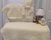 Baby layette,IVORY,  hand knitted, hat, sweater, booties and blanket,open weave stitch