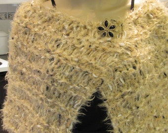 DESIGNER KNIT CAPE/ Wrap, hand knitted in an imported, elegant mink like yarn