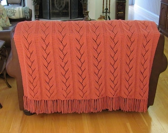 KING SIZE AFGHAN: hand knitted, in a  rose  yarn, delicate leaf pattern stitch, queen size