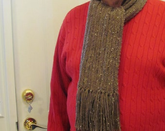 "READY TO SHIP: Knit Scarf, Brown, Men's New York style scarf, hand knitted in a worsted weight yarn, called Barley Heather, with a 5"" fringe"