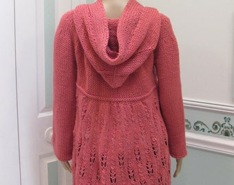 SALE ITEM: Rose, Hoodie, sweater/coat, medium  large, hand knitted, in a  worsted weight yarn,with 4 black toggle, lacey  skirt