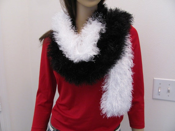 Boa Scarf,Hand knitted, Long,  Two Tone  in black and white  fun fur