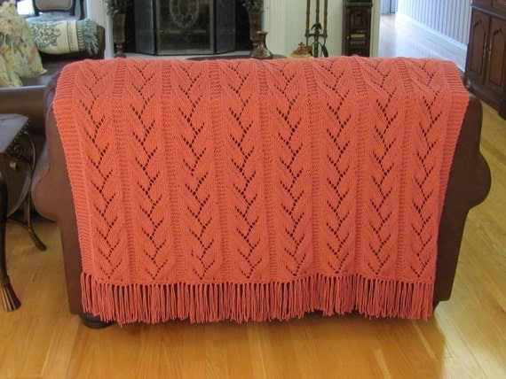 READY TO SHIP : Knit, Queen,  Afghan, hand knitted, in a  rose colored yarn, delicate leaf pattern stitch, queen size