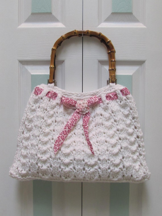 Reserved for Lee Ann,-Large, white, handbag/purse,hand knitted in a double white worsted weight yarn,fully lined ,has brown bamboo handles