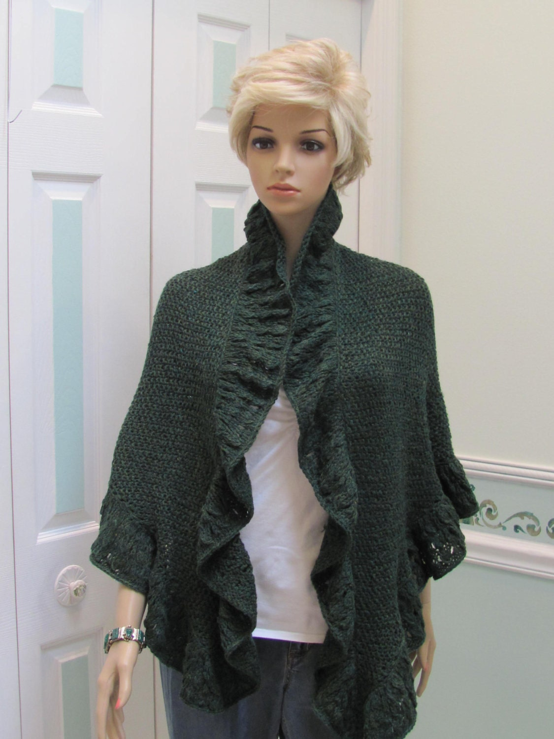 Princess Kate Middleton style Shawl in a forest by UptownKnits