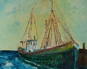 "Wood's Hole Fishing Trawler  16"" x 20"" Print of original oil"