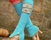 funky URBAN CHIC turquoise leg WARMERS with pockets and slits hippie bohemian upcycled unique