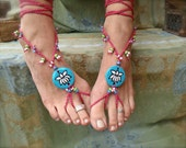 Lotus BAREFOOT SANDALS bohemian shoes pink and blue yoga hippie fairy slave anklets made to order
