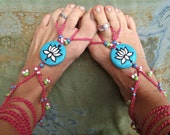 BAREFOOT SANDALS yoga LOTUS pink and blue bohemian hippie fairy hand made made to order