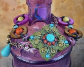 reserved for Mila BOHEMIAN choker SHANTI necklace green purple gypsy hippie colorful hand made jewelry