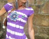 TIEDYE HIPPIE purple t shirt PIXIE dress shirt  hand embroidered scalloped crochet neck flower shirt eco friendly