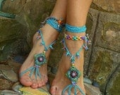 HIPPIE summer BAREFOOT SANDALS crochet sandals beaded sandals foot jewelry beach wedding bohemian gypsy shoes