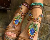 PEACOCK BAREFOOT sandals peacock feather beach wedding mykonos greek beads made to order hippie foot jewelry beach