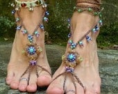 HULA HOOPING BAREFOOT sandals mustard yellow brown belly dance yoga beach sandals foot jewelry nude shoes made to order