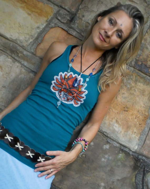 YOGA TOP deep teal red LOTUS tank root chakra hippie tank top bohemian hand painted embroidered eco friendly