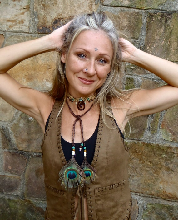 tribal HEADBAND choker with BALI spirit pendant genuine leather PEACOCK feathers gemstones and wooden beads