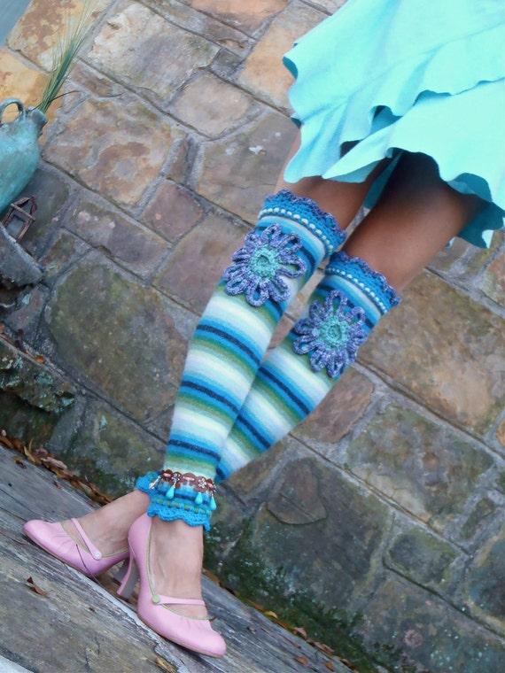 BOHO chic blue stripe FLOWER girl leg WARMERS upcycled unique