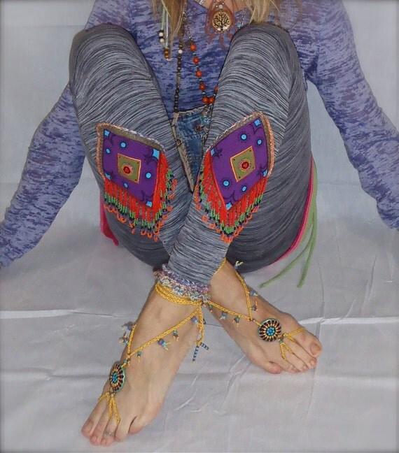TRIBAL Hippie GYPSY YOGA Leggings Grey Tights Beaded Hand