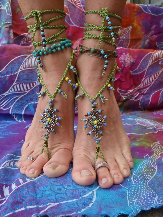BOHEMIAN BAREFOOT SANDALS with green lace crochet eternal celtic knot beaded foot jewelry made to order