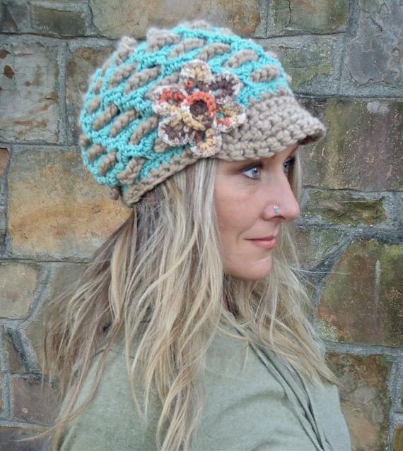 BOHEMIAN Slouchy Beanie crochet slouch hat FLOWER cap NEWSBOY hat interwoven pattern Hippie gypsy funky hat blue beige made to order