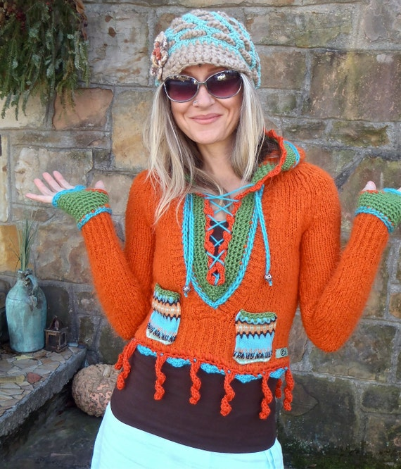 HIPPIE orange HOODED sweater with fingerless GLOVES fringe tiny pockets happy bohemian gypsy eco friendly up cycled native american tribal