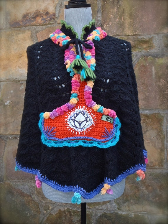 HIPPIE PONCHO black BOHEMIAN cape mini sweater top scalloped crochet up cycled eco friendly hand made