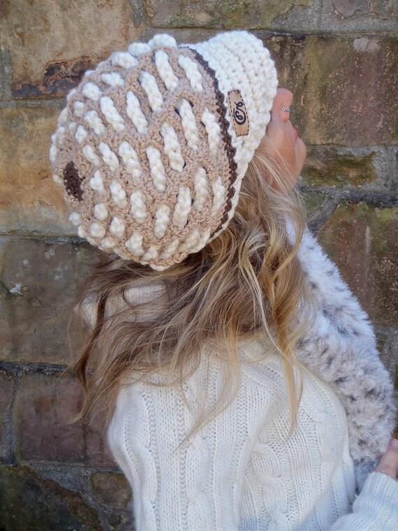 SNOW QUEEN crochet slouch hat beige white cap NEWSBOY hat interwoven pattern bohemian hippie funky hat