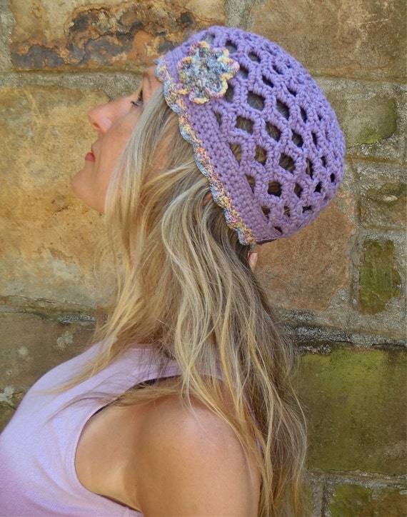 hippie PURPLE BEANIE with flower cotton hat crochet unique bohemian country chic made to order