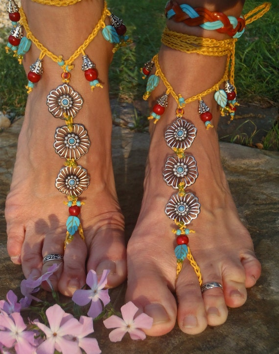 BOHO gypsy yellow BAREFOOT SANDALS rib flowers slave anklet hand made foot jewelry bohemian tribal unique beach sandals