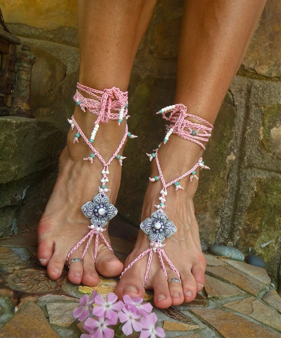 BRIDAL BAREFOOT sandals PINK shanti collection beach wedding kundalini beaded foot jewelry made to order