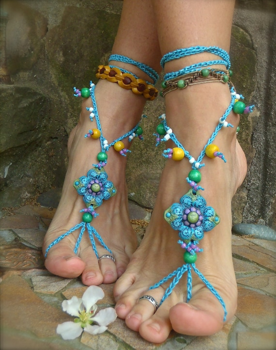 BLUE belly dance BAREFOOT SANDALS crochet bohemian shoes hand made foot jewelry hula hooping hippie shoes yoga wedding ready to ship