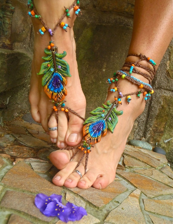 FESTIVAL of colors PEACOCK BAREFOOT sandals peacock feather beach wedding mykonos greek beads made to order hippie foot jewelry beach