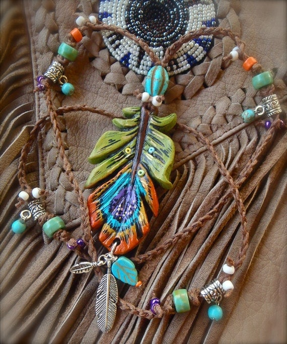 bohemian PEACOCK gypsy feather NECKLACE COLORFUL long necklace crochet necklace turquoise hippie jewelry made to order