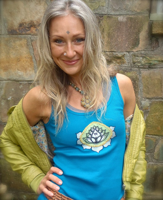teal blue YOGA tank LOTUS applique hippie BOHEMIAN clothes ethnic boho gypsy hand painted embroidered