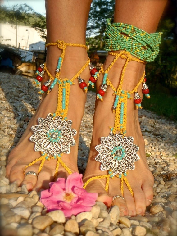 BOHO gypsy yellow BAREFOOT SANDALS filigree flowers slave anklet hand made foot jewelry bohemian tribal unique beach sandals