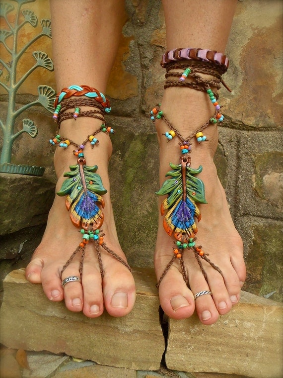 PEACOCK BAREFOOT sandals peacock feather beach wedding mykonos greek beads made to order hippie foot jewelry beach