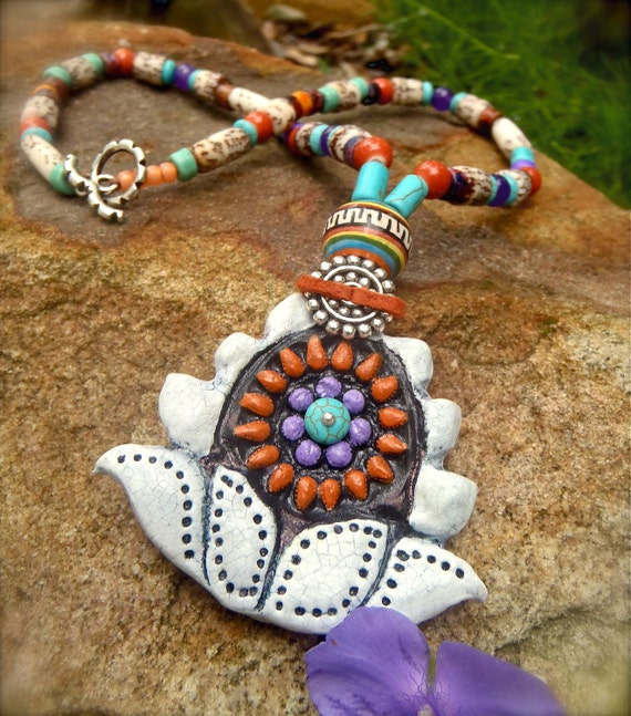 TRIBAL LOTUS necklace NATIVE indian statement necklace hand made yoga jewelry unique bohemian hippie jewelry