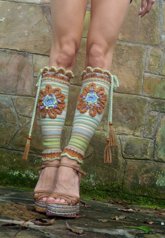 BOHO CHIC leg warmers FLOWER draw string braided headband leather tassels upcycled unique