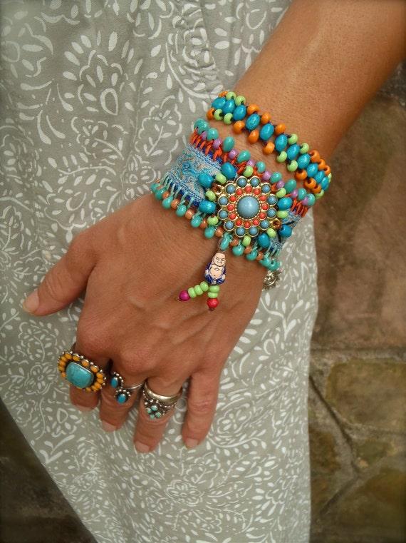 INDIE BUDDHA cuff BRACELET tribal neon colors friendship bracelet statement bracelet beaded bracelet yoga gypsy hippie hand made jewelry