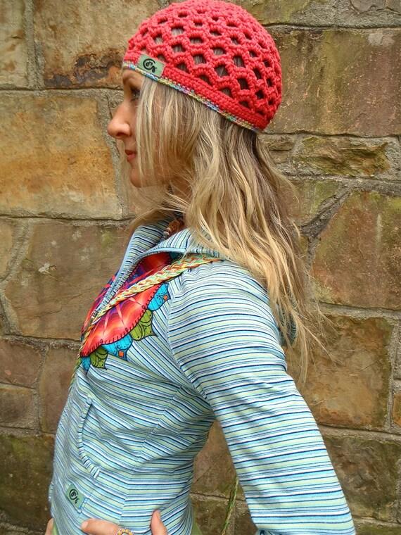 strawberry BEANIE HIPPIE hat crochet beanie bohemian hat cotton beanie hat GYPSY hat summer urban chic