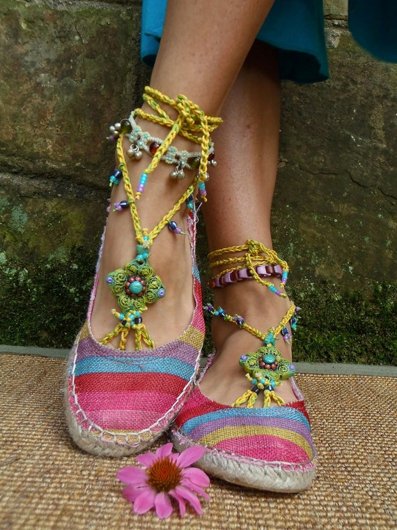 variegated PEA GREEN BAREFOOT sandals yellow crochet beaded sole less shoes beach wedding, bohemian gypsy shoes, photo shoot props
