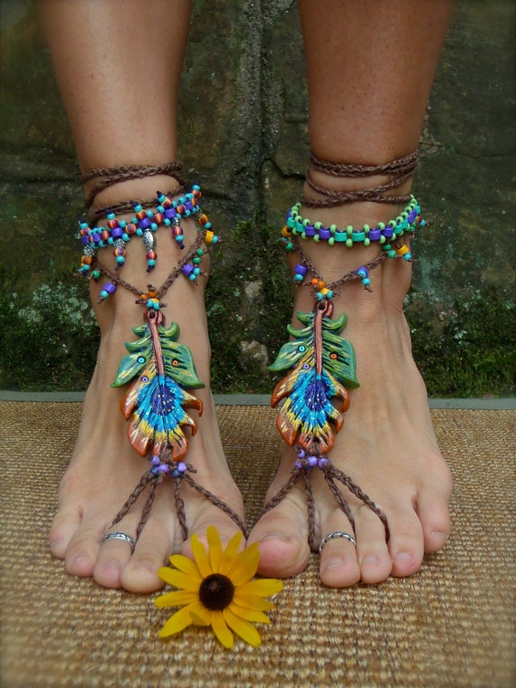 PEACOCK BAREFOOT sandals peacock feather beach wedding slave anklets sole less shoes photo props hippie foot jewelry beach