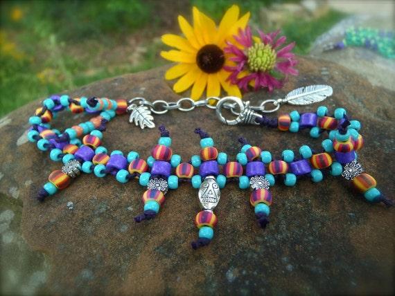 TRIBAL ANKLET beaded ankle bracelet HIPPY jewelry stackable anklets/bracelets barefoot sandals slave anklets