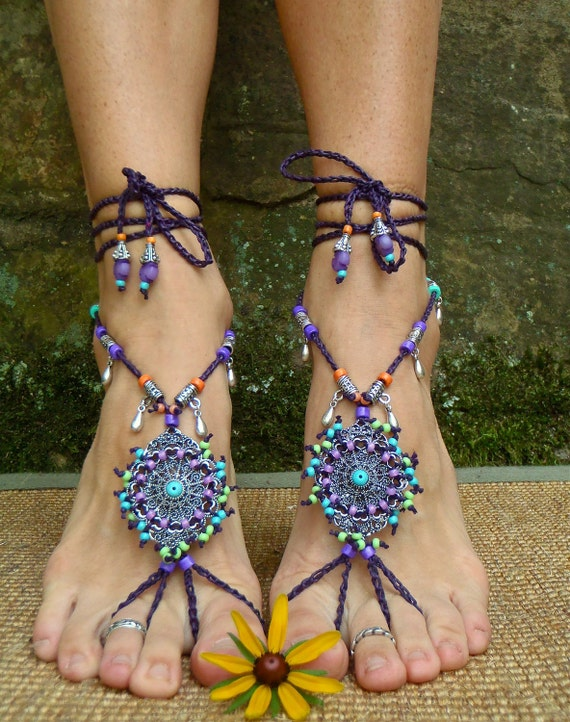 Bohemian DREAM BAREFOOT SANDALS sole less sandals beach wedding rainbow dance jewelry slave anklet foot jewelry bohemian shoes unique