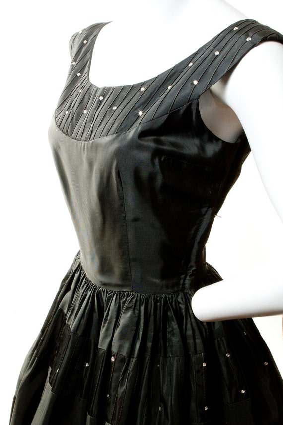 "1950's Black Jonathan Logan Dress with Rhinestones 26"" Waist"