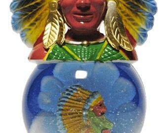 Vintage Snow Globe Souvenir - Cigar Store Indian Figural