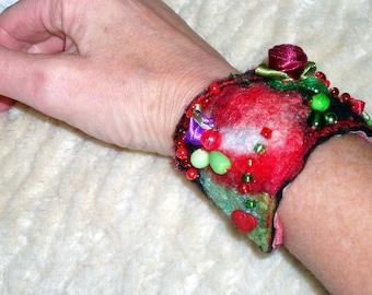 Beaded felted wool cuff bracelet, Bohemian cuff, gypsy, fabric textile wrist cuff,