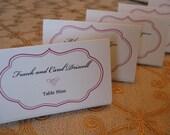 Sleek and modern, escort or place cards, custom printed, custom coloring, set of 20