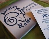 High School Reunion Postcard Design and Print - School Logo and Custom Text Layout